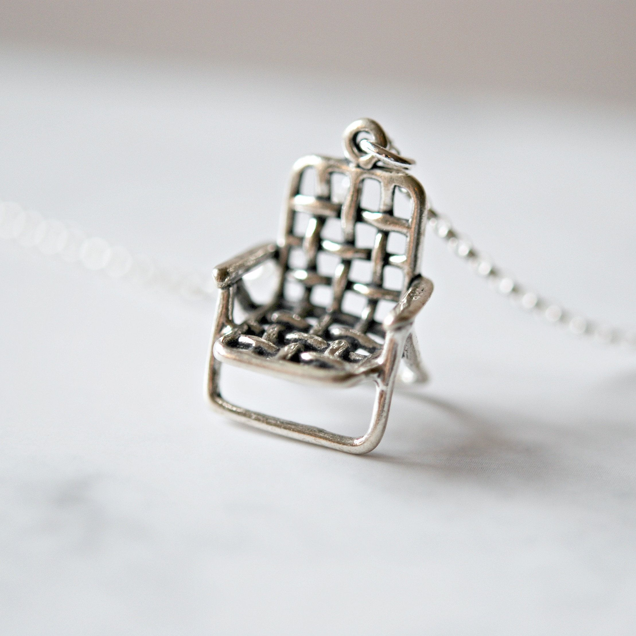 Sterling Silver Retro Lawn Chair Necklace Necklace Jewelry Sterlingsilver Littleglamo In 2020 Cleaning Silver Jewelry Sterling Silver Pendants Gold Vermeil Jewelry