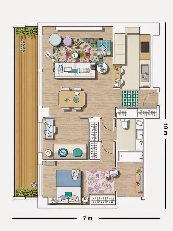 Un piso elegante con toques azules Plans, Plans maison et Plans de - logiciel plan maison 3d gratuit