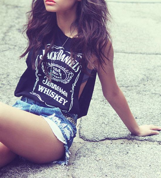 Fashion Ladies Jack Daniels Logo Womens Casual Vest T Shirt