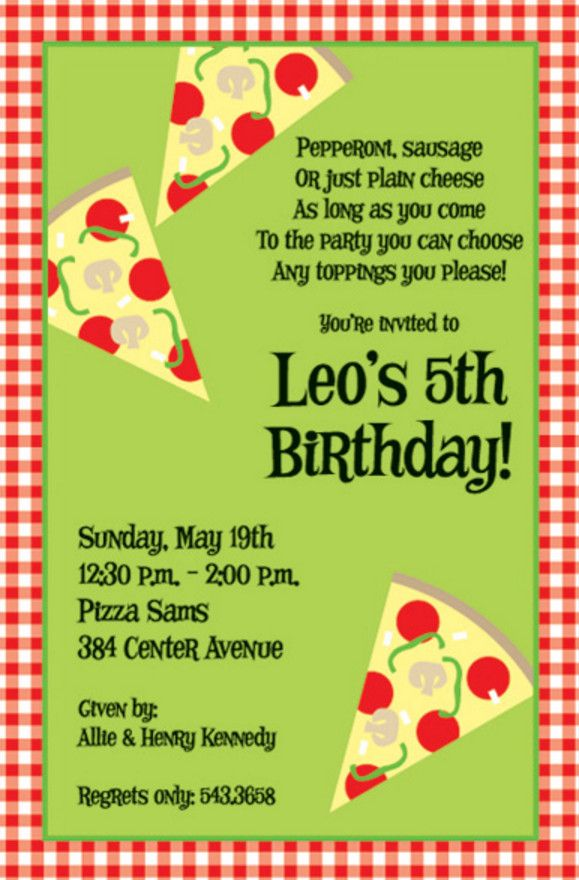 pizza birthday party invitation wording | Pizza Party Invites ...