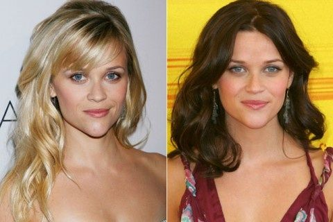 Reese Witherspoon Celebrity Hair Chameleons Blonde Vs Brunette Marie Claire Blonde Vs Brunette Dark Blonde Hair Brunette To Blonde