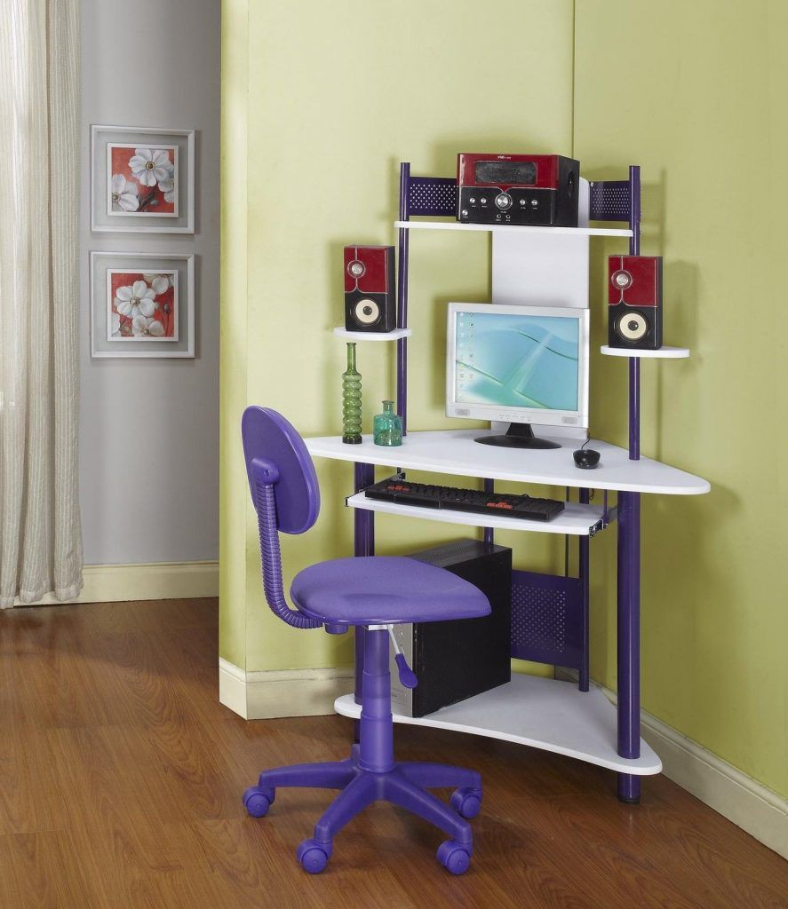 Furniture Corner Computer Table With White Tone Ladder And