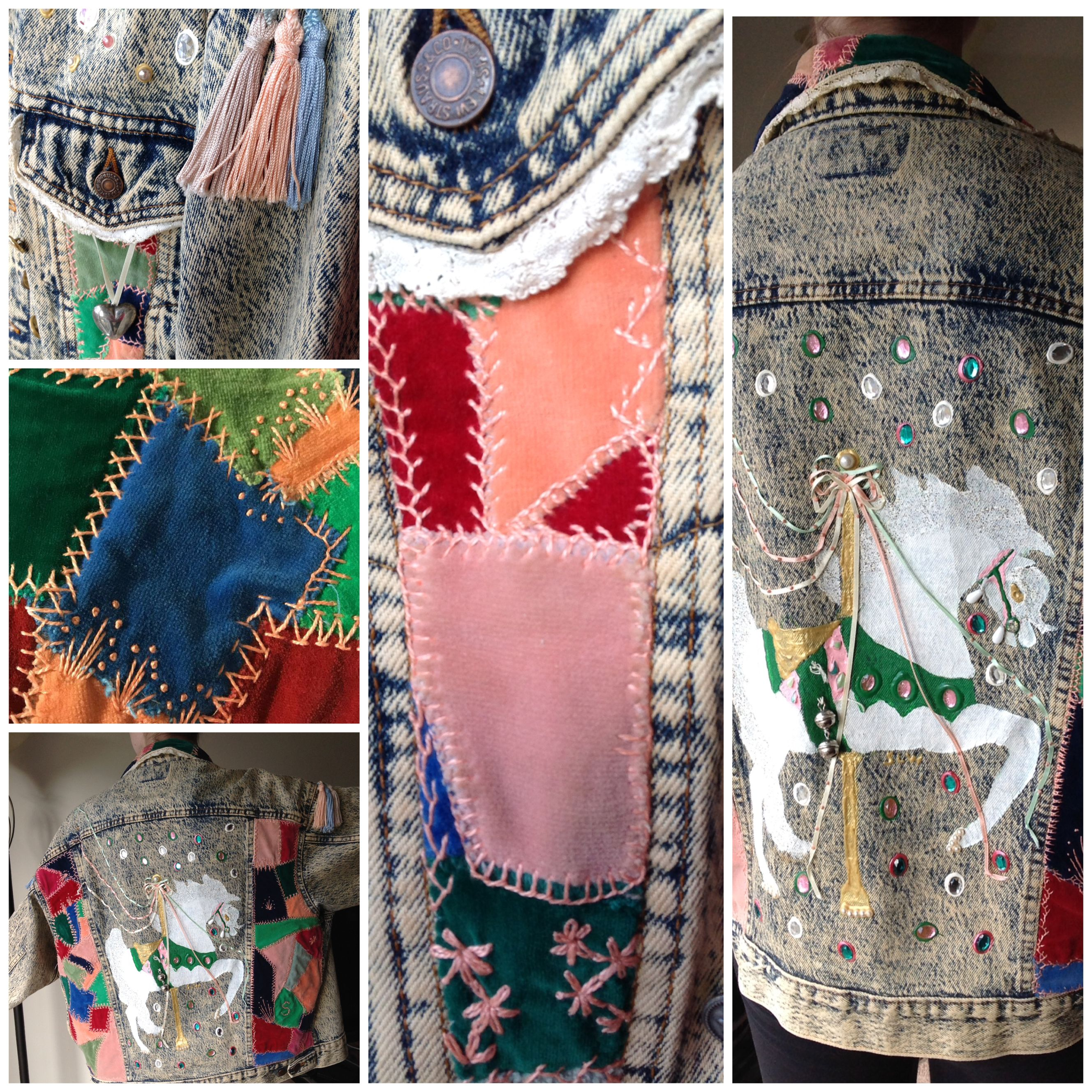 Carousel denim jacket, 1989, created by mother-daughter team Margo ...