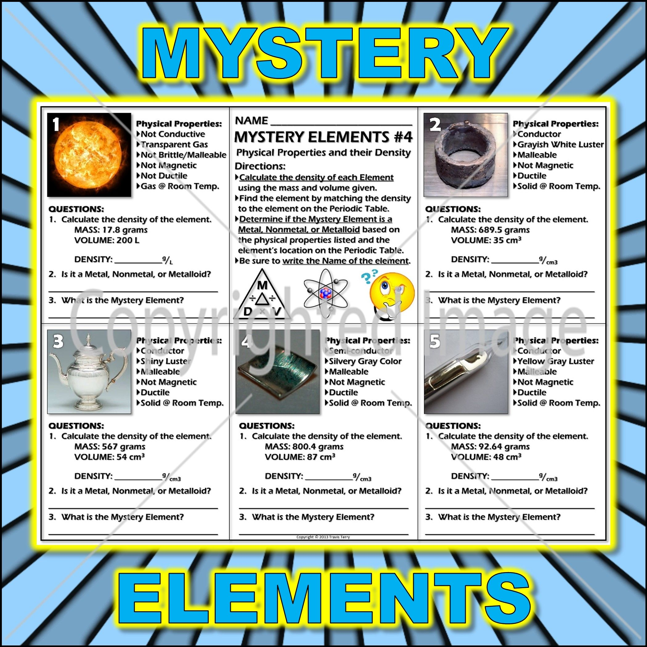 Worksheet Mystery Elements And Their Density Version 4