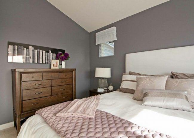 taupe wandfarbe im schlafzimmer wandbild buch motiv holz kommode rosa kuche