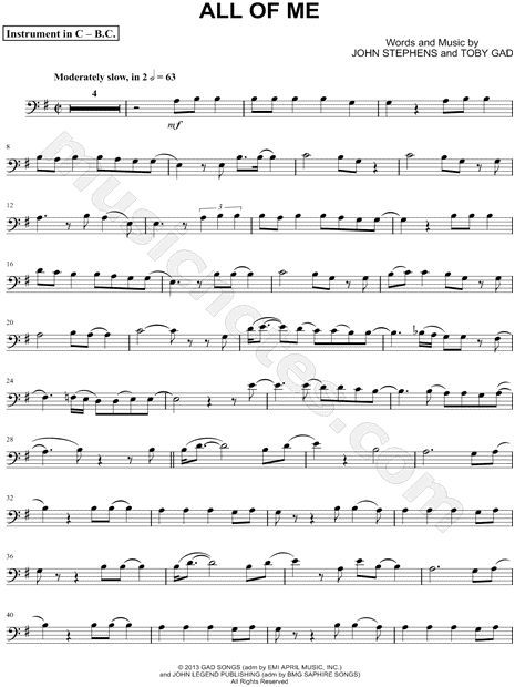 Print and download All of Me - Bass Clef Instrument sheet music by - bass cleff sheet music