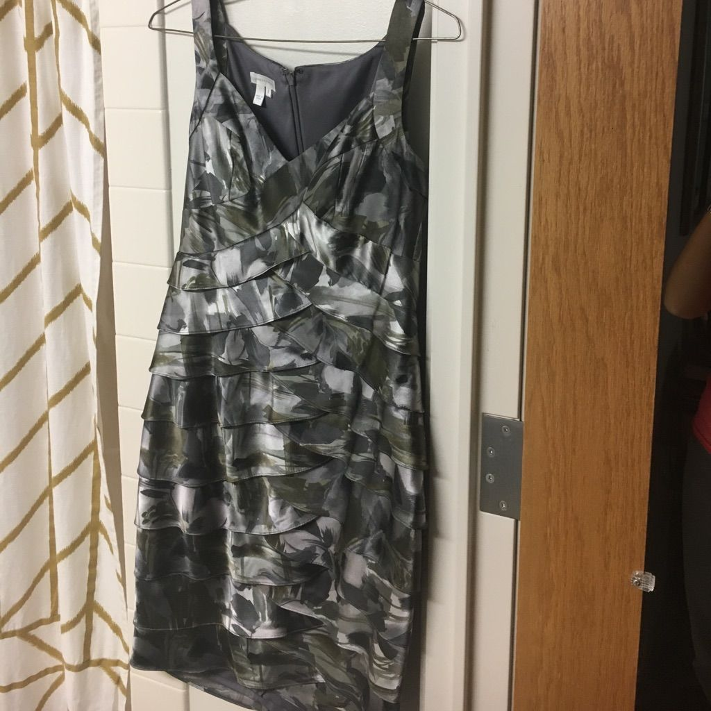 London Times Silver/Gray/Olive Cocktail Dress