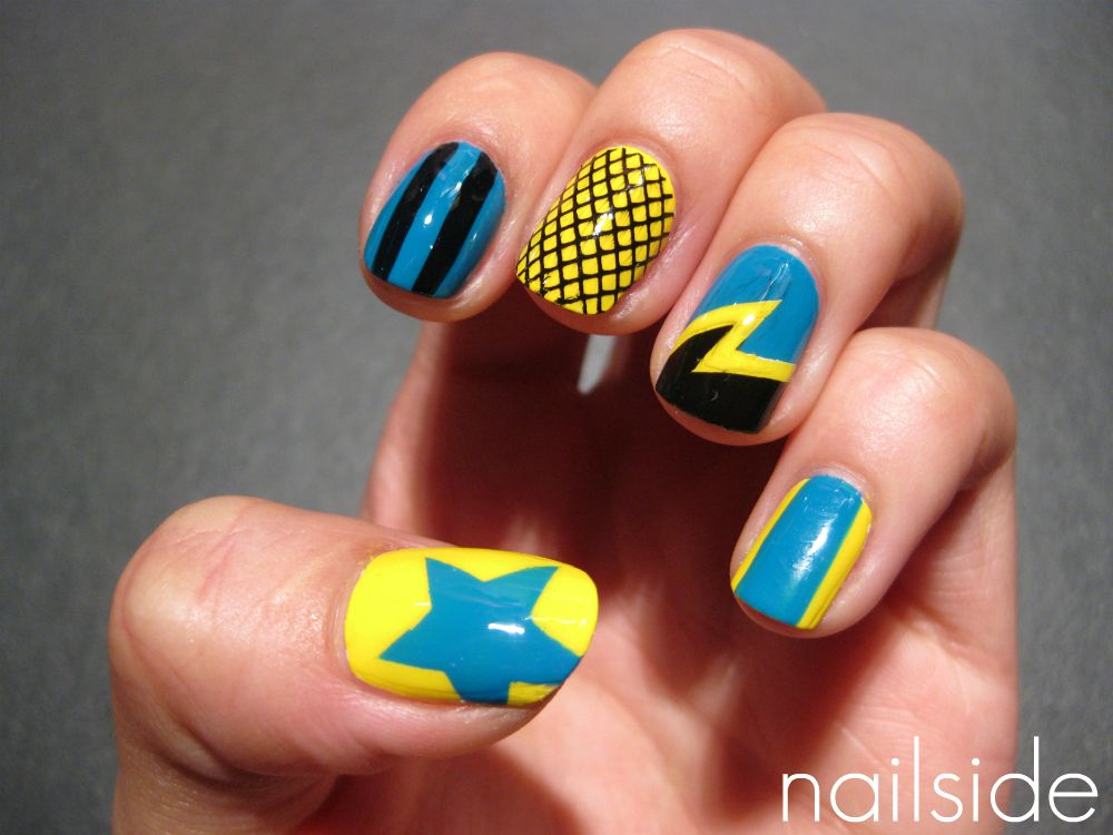 Nailside mani for The Mad Dollies, roller derby team from
