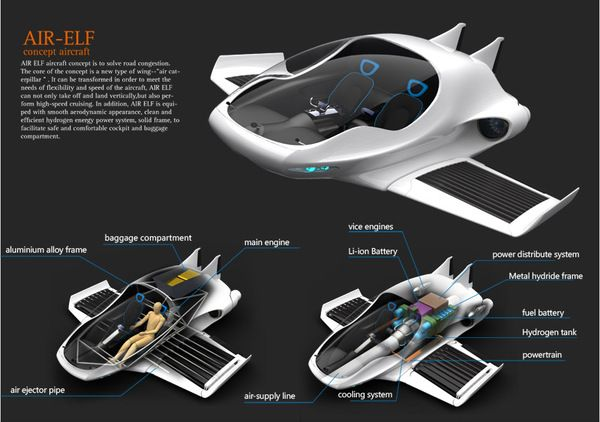 """""""Air-Elf"""" Aircraft concept design by Yinze Hu, via Behance"""