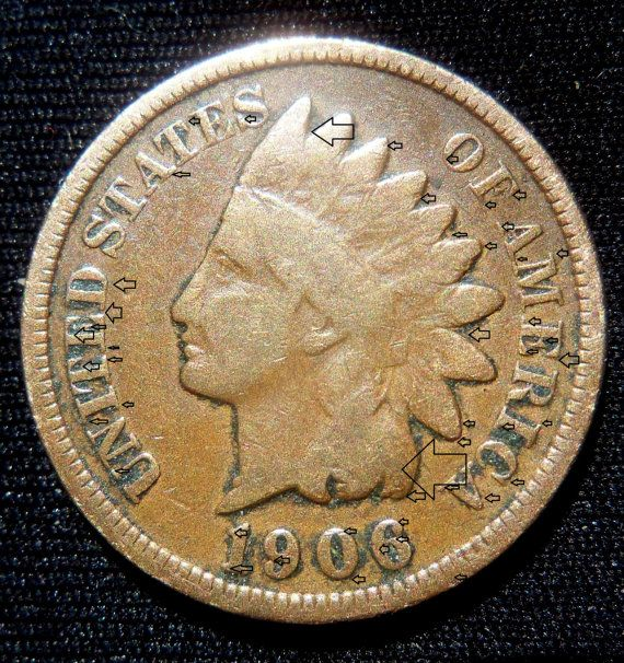 1906 Indian Head Penny Double Die Error Both Side by PastsPresents