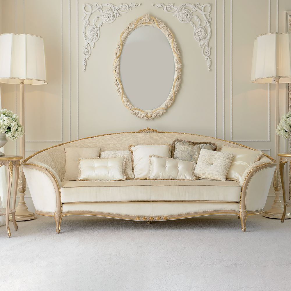 Luxury Italian Ivory Louis Reproduction Sofa at