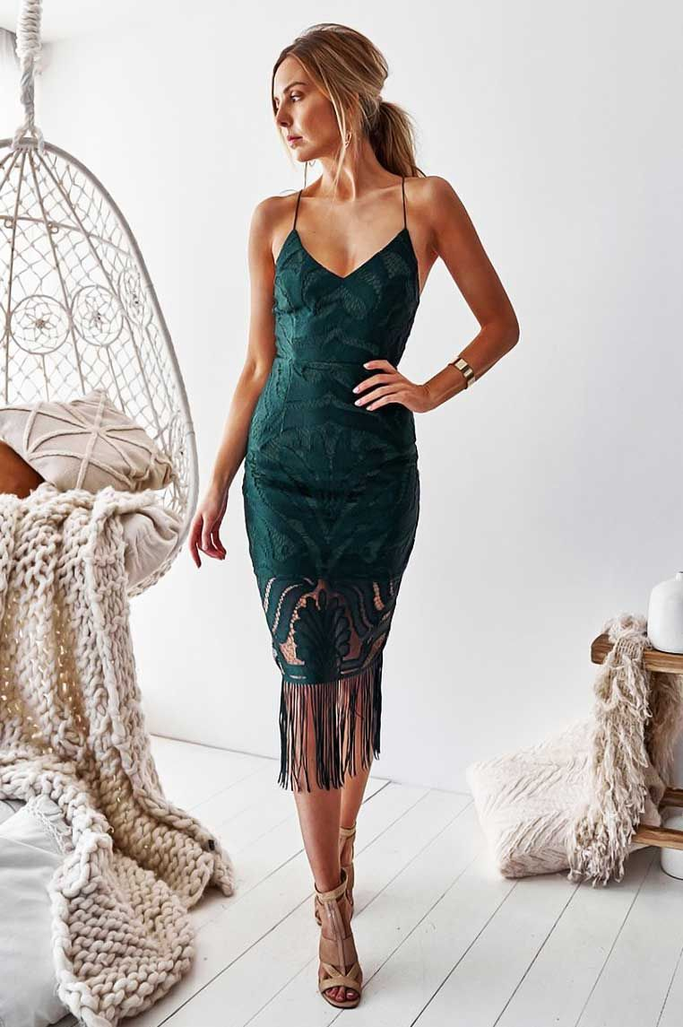 Khaleesi Lace Midi Dress Emerald Green Green Lace Dresses Khaleesi Dress Fall Cocktail Dress