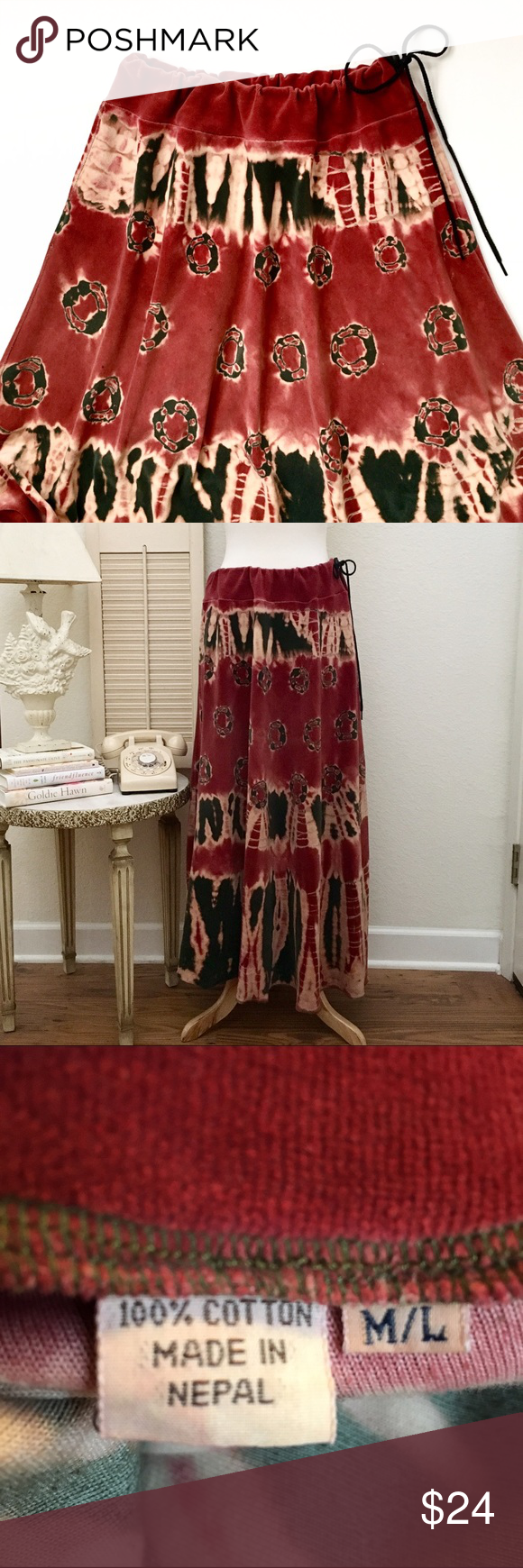 """Nepal Maxi Skirt, Bohemian Tie Dyed Velour❤️ 100% cotton. Adjustable drawstring. Velour  fabric has natural stretch. Colors soft dusty Rosy red, Forest/moss green, cream. Waist: 20""""  across measured flat, wide sweat pant style waistband. hip: approximately 26 inches across measured flat. Length: front, approximately 37 inches in length, back: approx 40 length... The length is quirky, varies, those kooky bohemians😊. Hemline is serged. Beautiful dyed print. This item is used and in good hippy…"""