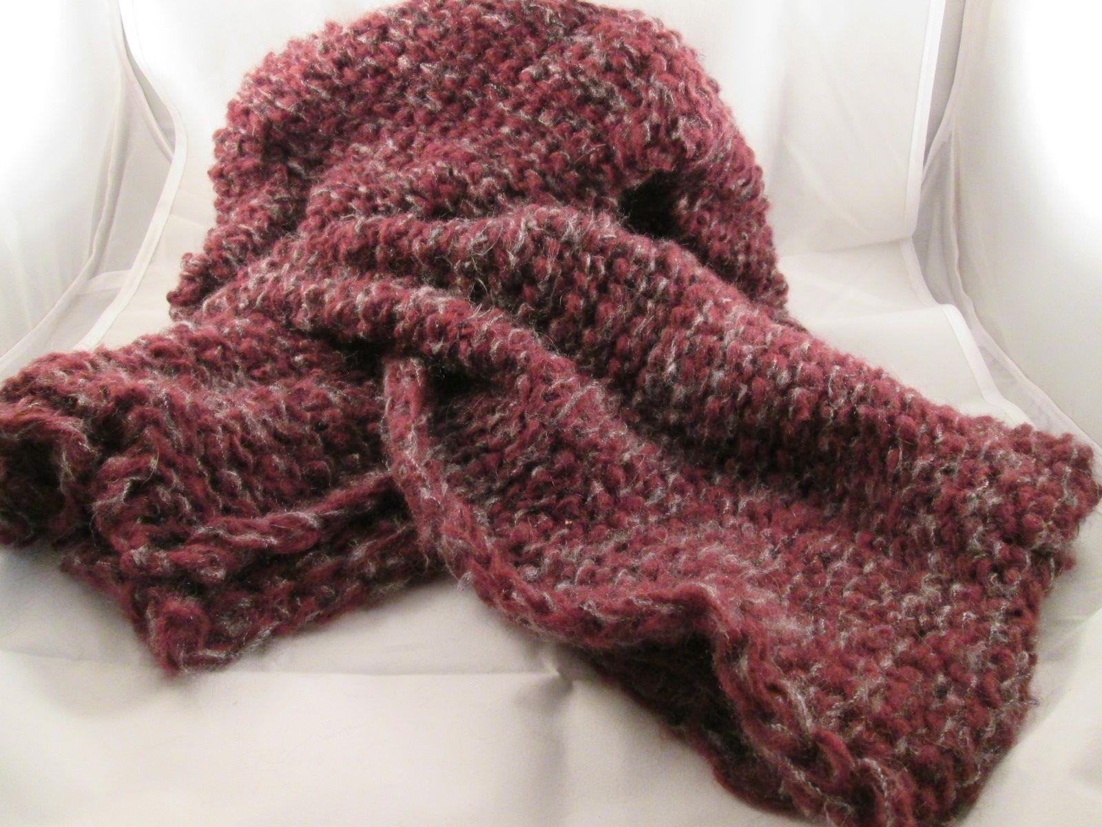 Sciarpa in lana a doppio filato rosso e grigio