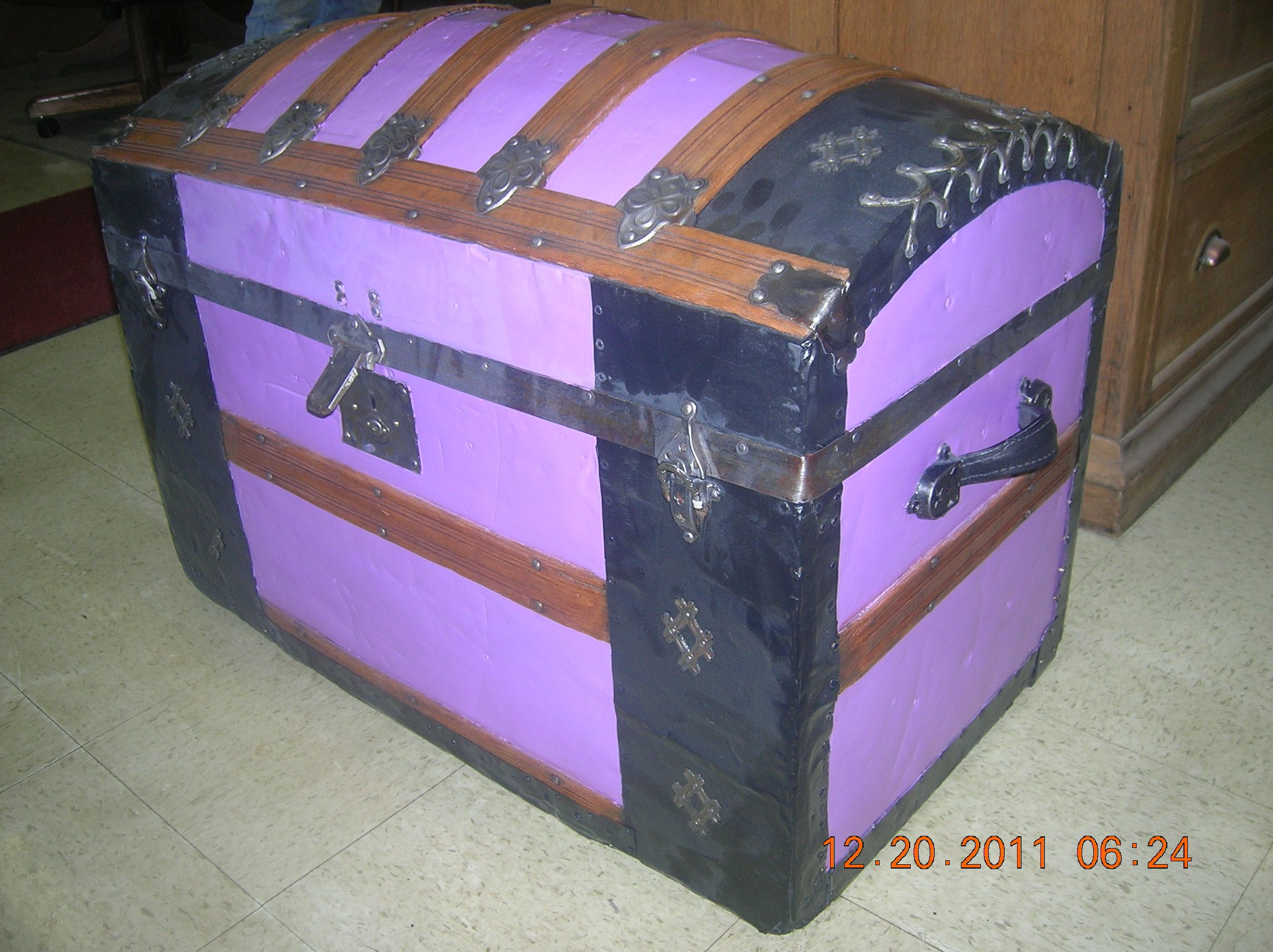Antique Camel Back Trunk Completely Restored And Refinished This