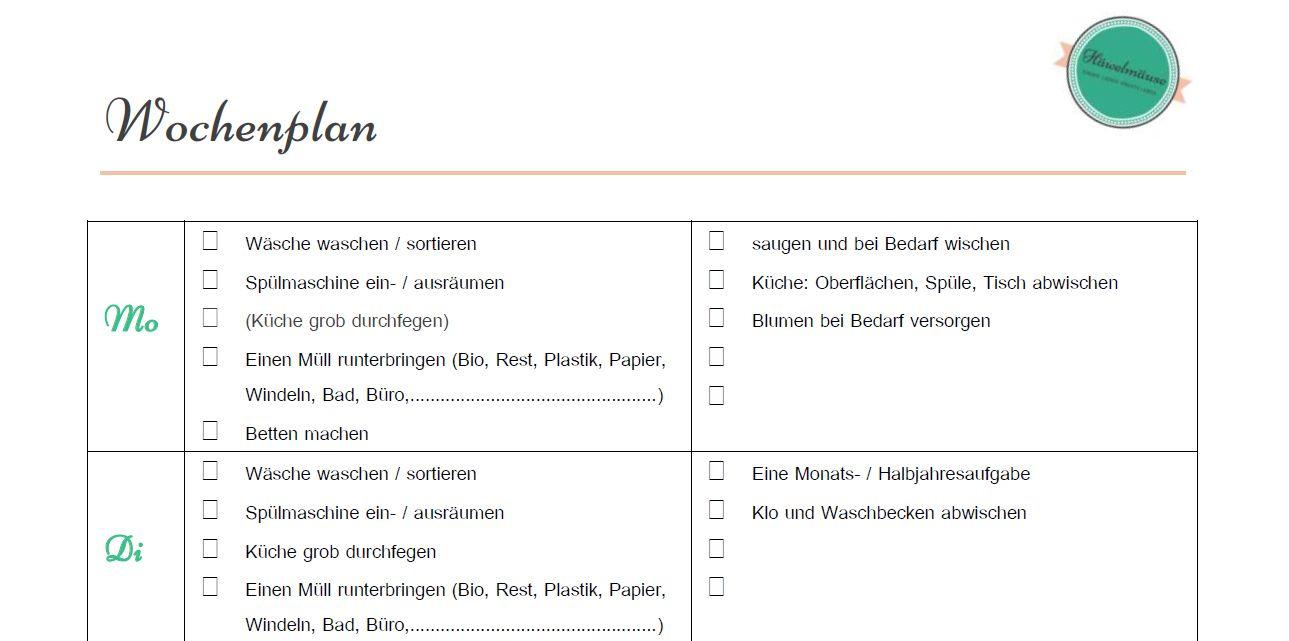 Putzplan Haushaltsplan Download | Organisation | Pinterest ...