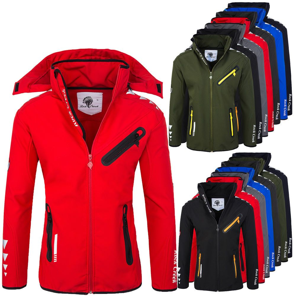 Rock Creek Herren Softshell Funktions Outdoor Regen Jacke
