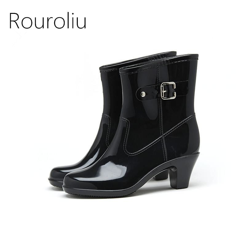 def195ea0b0a Rouroliu Women Fashion PVC Mid-calf Rain Boots Buckle High Heels Rainboots  Waterproof Water Shoes