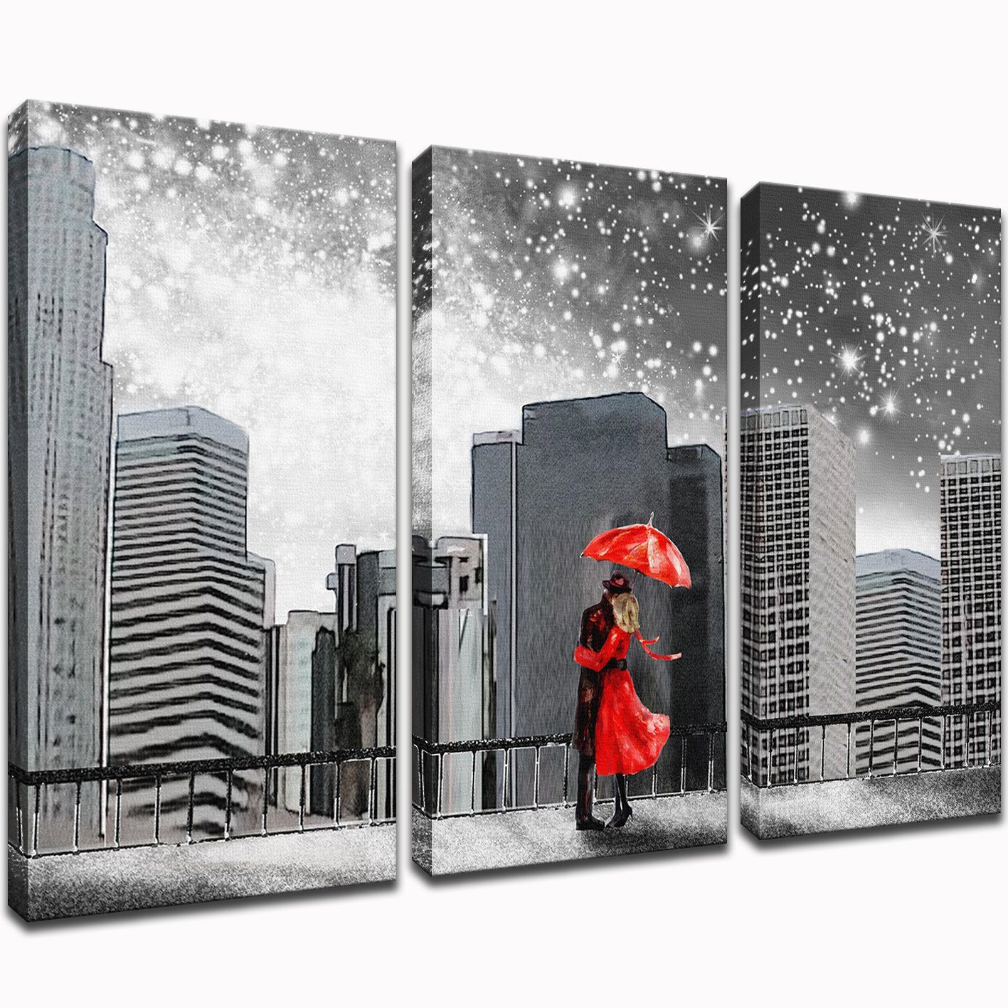 Klvos Abstract 3 Piece Wall Art Black And White Couples With Red Umbrella Under New York Starry Night Ci Red Wall Art Red Wall Art Living Room Canvas Wall Art