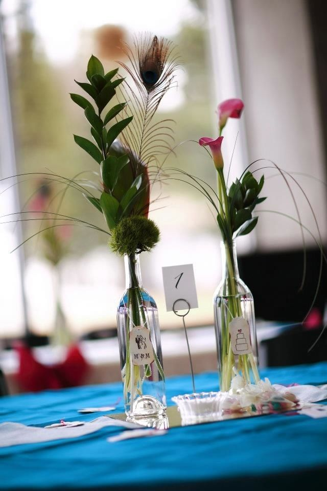 Peacock Feather Centerpieces For Weddings Wine Bottle