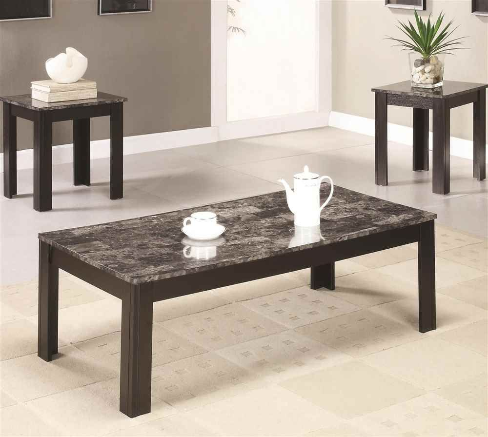 3pc rectangular occasional table set in black finish
