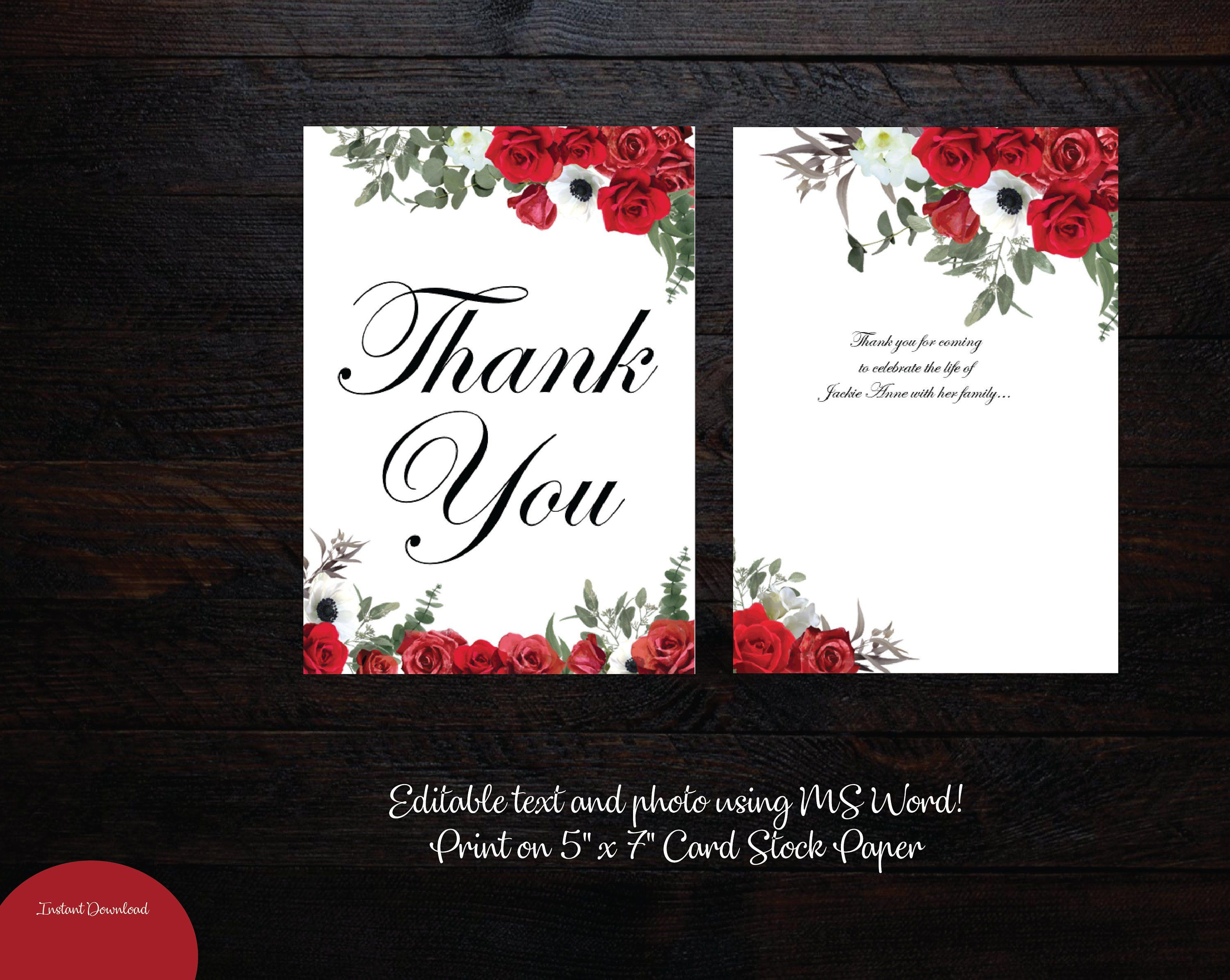 Printable Funeral Thank You Card 5x7 Memorial Thank You Etsy Funeral Thank You Cards Funeral Thank You Thank You Card Template