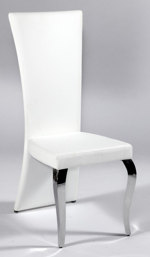 White Leather Seat And Back Chair With Polished Chrome Legs