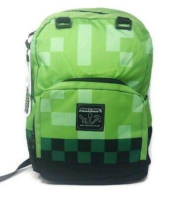 """JINX Minecraft Emerald Survivalist Kids School Backpack 17/"""" Green"""