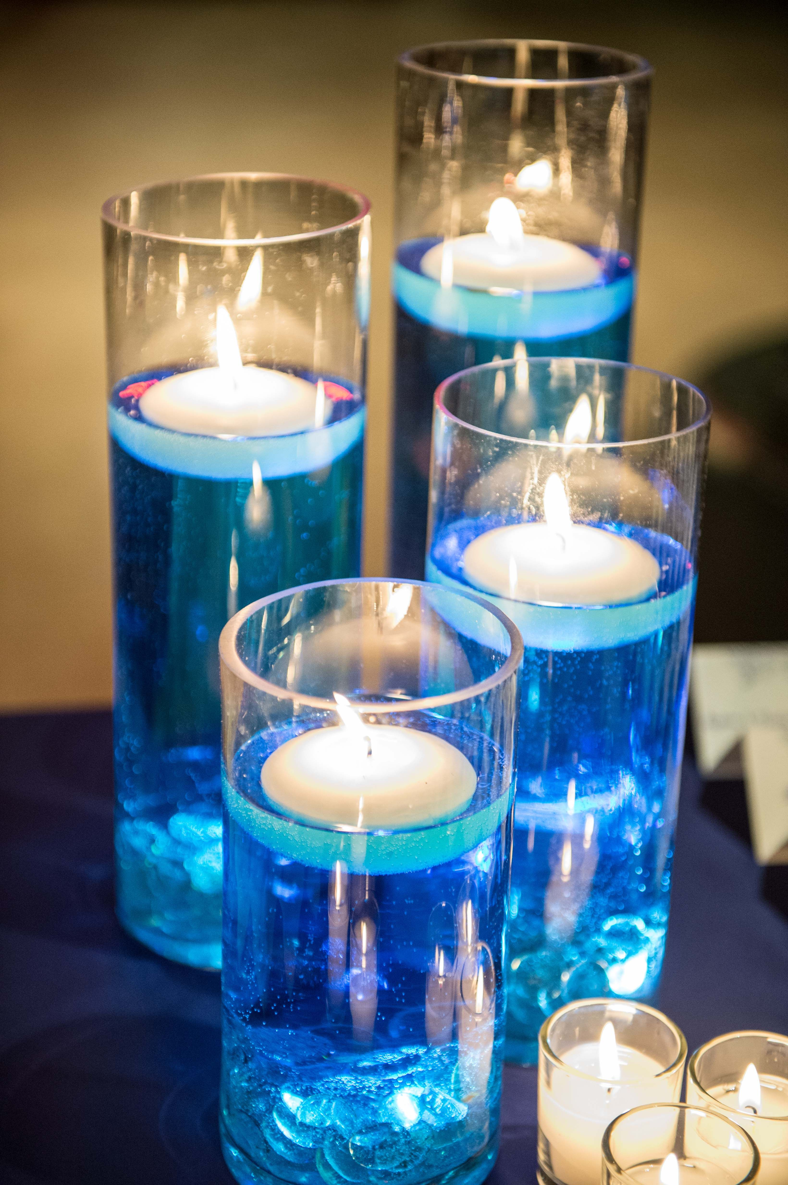 Floating Candles Blue Dyed Water Tea Lights Wedding