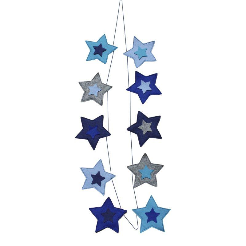 sterren slinger in blauw, grijs & wit ster decoratie kinderkamer, Deco ideeën