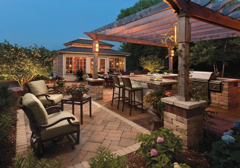 Stonehenge And Umbriano Patio With Brussels Dimensional BBQ - Design ideas for backyard bbq patios
