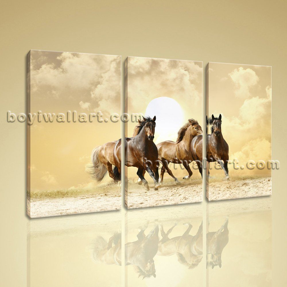 Contemporary abstract landscape horse painting print canvas wall art