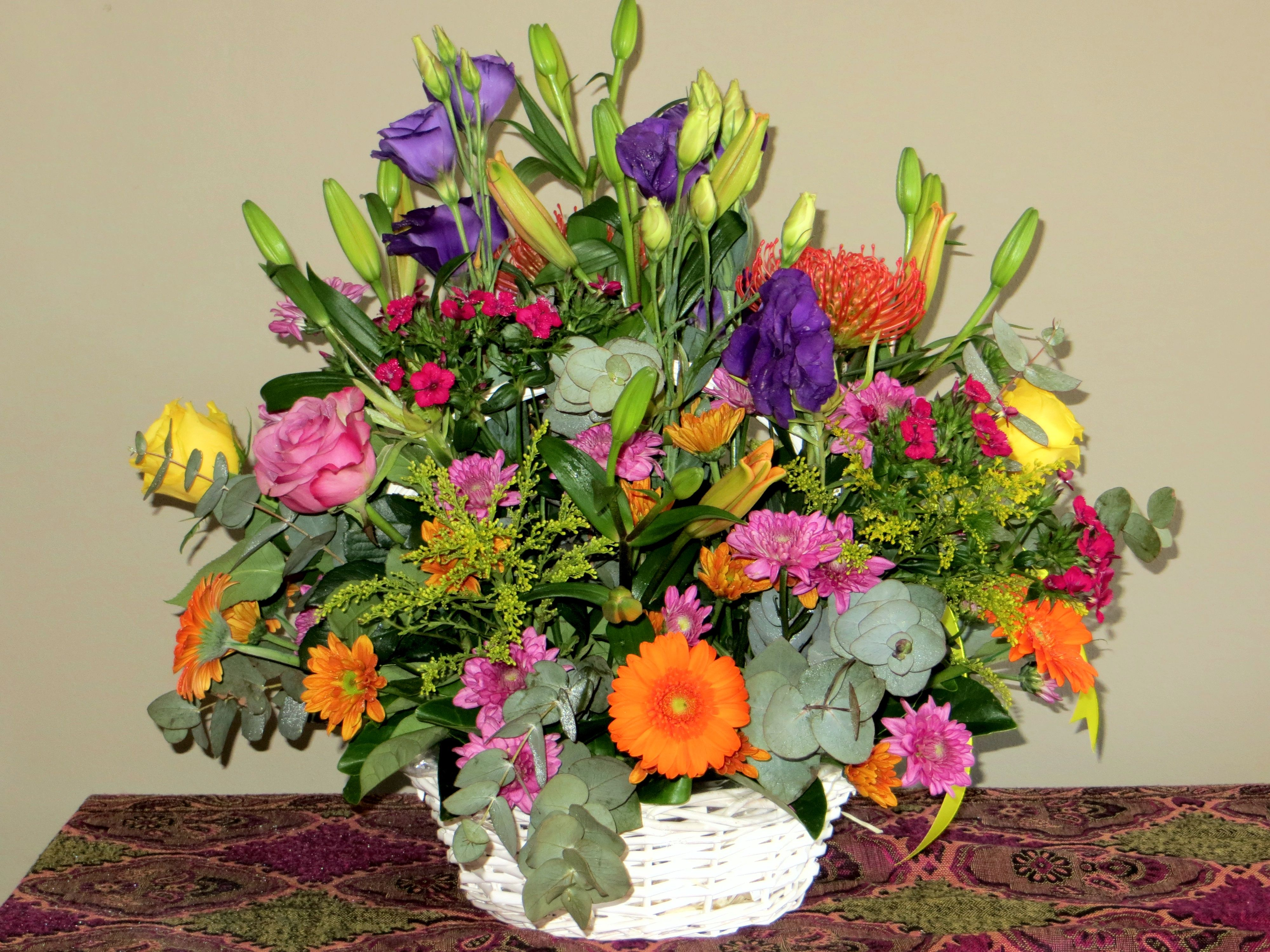 Beautiful Mixed Basket Flower Arrangements Flower Arrangements