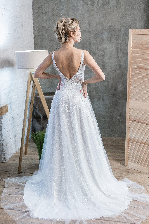 Bridal bridesmaid dress boho lace bohemian tulle ivory a