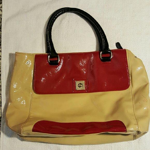 New York And Company Handbag Beige Red Ny Black Double Handle