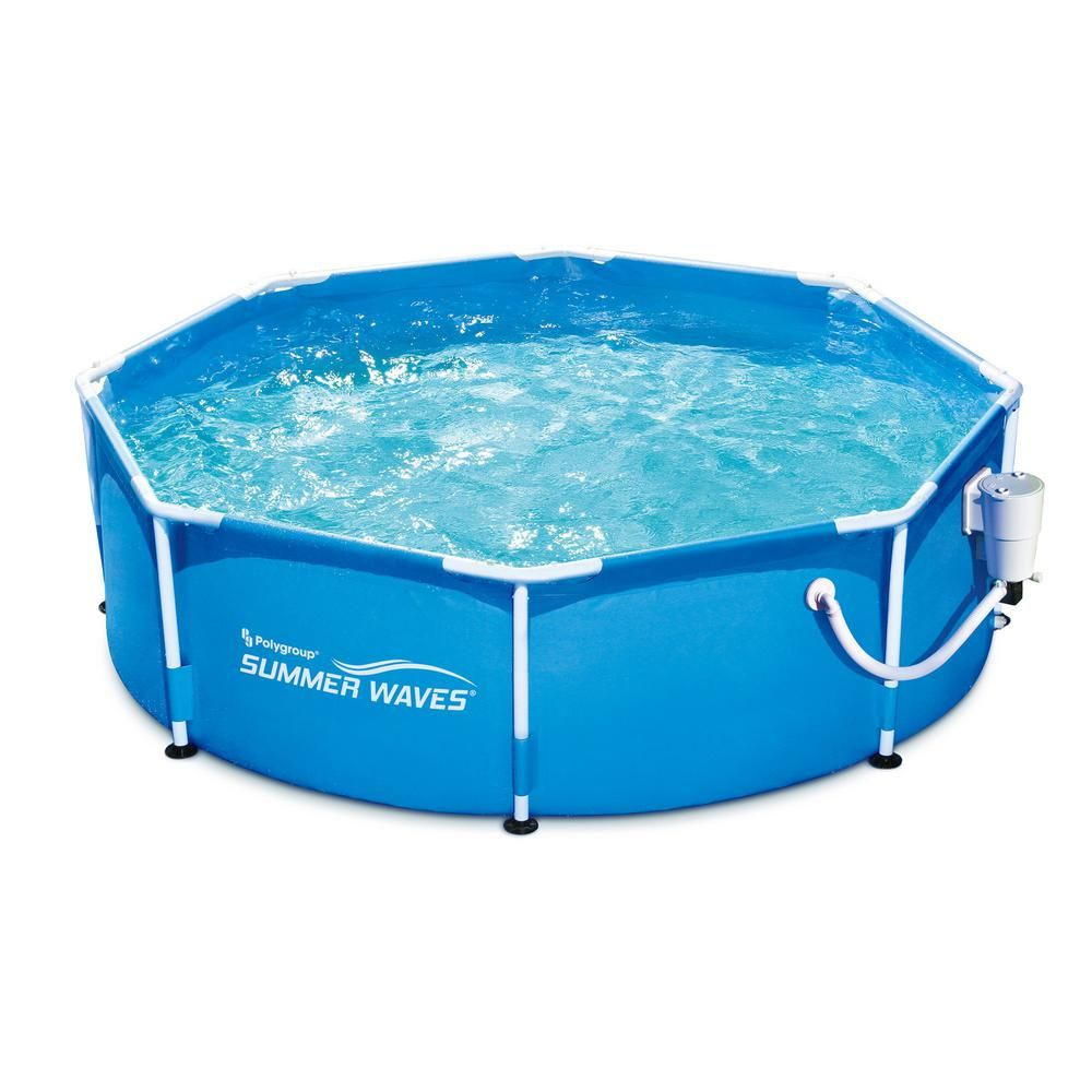 Summer Waves 8 Ft Round 30 In D Metal Frame Above Ground Swimming Pool And Pump P2000830a167 The Home Depot Best Above Ground Pool Summer Waves Above Ground Swimming Pools