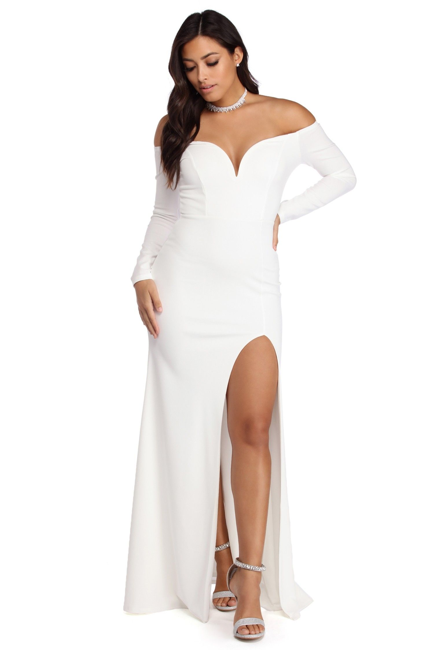 383b909da54741 Angeline Plunging Off The Shoulder Dress