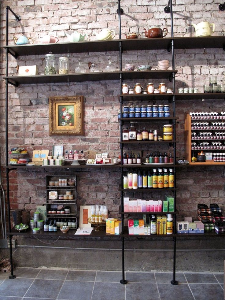 Brick Display Salon decor, Home salon, Hair salon decor