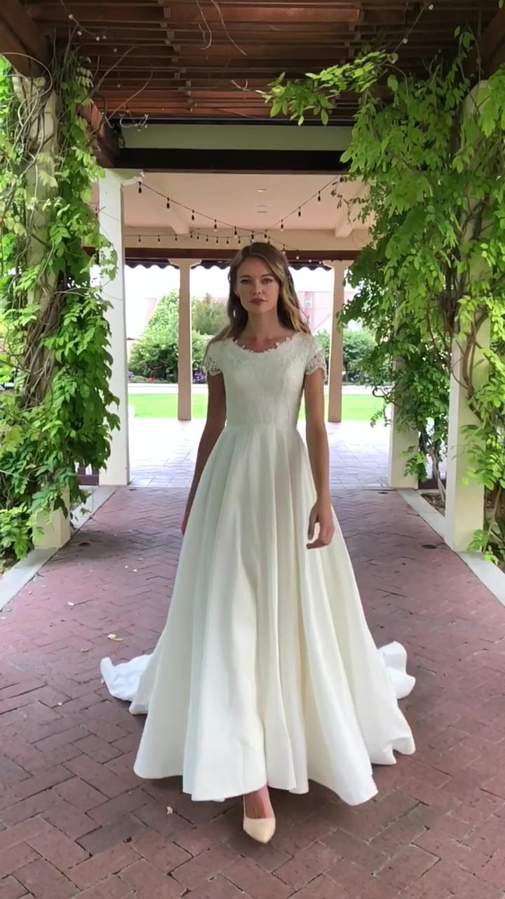 Mariah gown by Elizabeth Cooper Design | modest wedding dress | modest | wedding dress with sleeves | wedding gown | sleeves | taffeta wedding dress | wedding