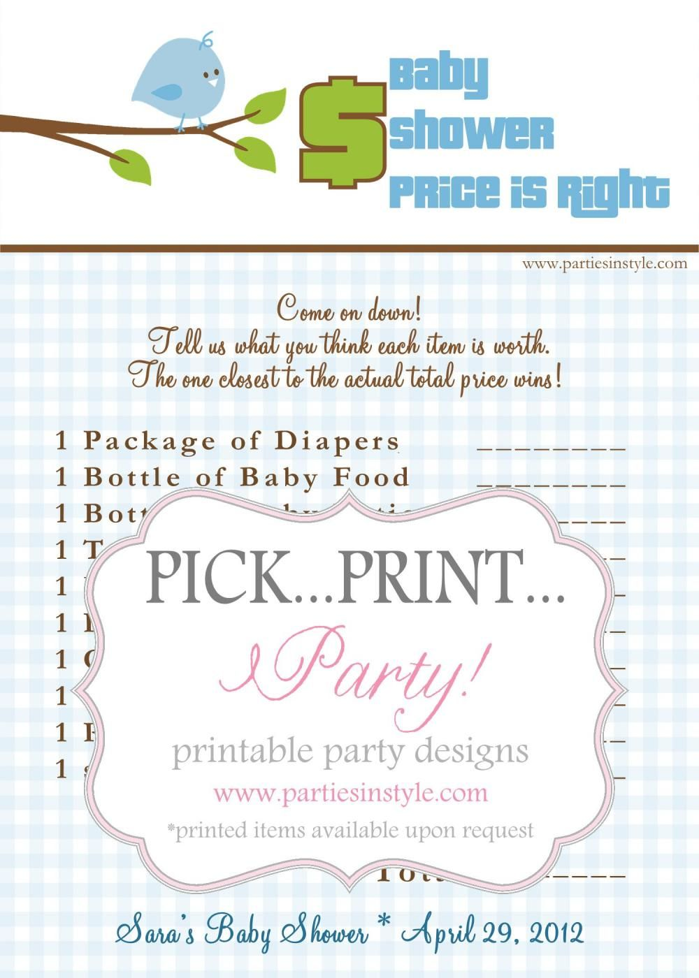 Baby shower game price is right baby shower games and for Baby shower cost