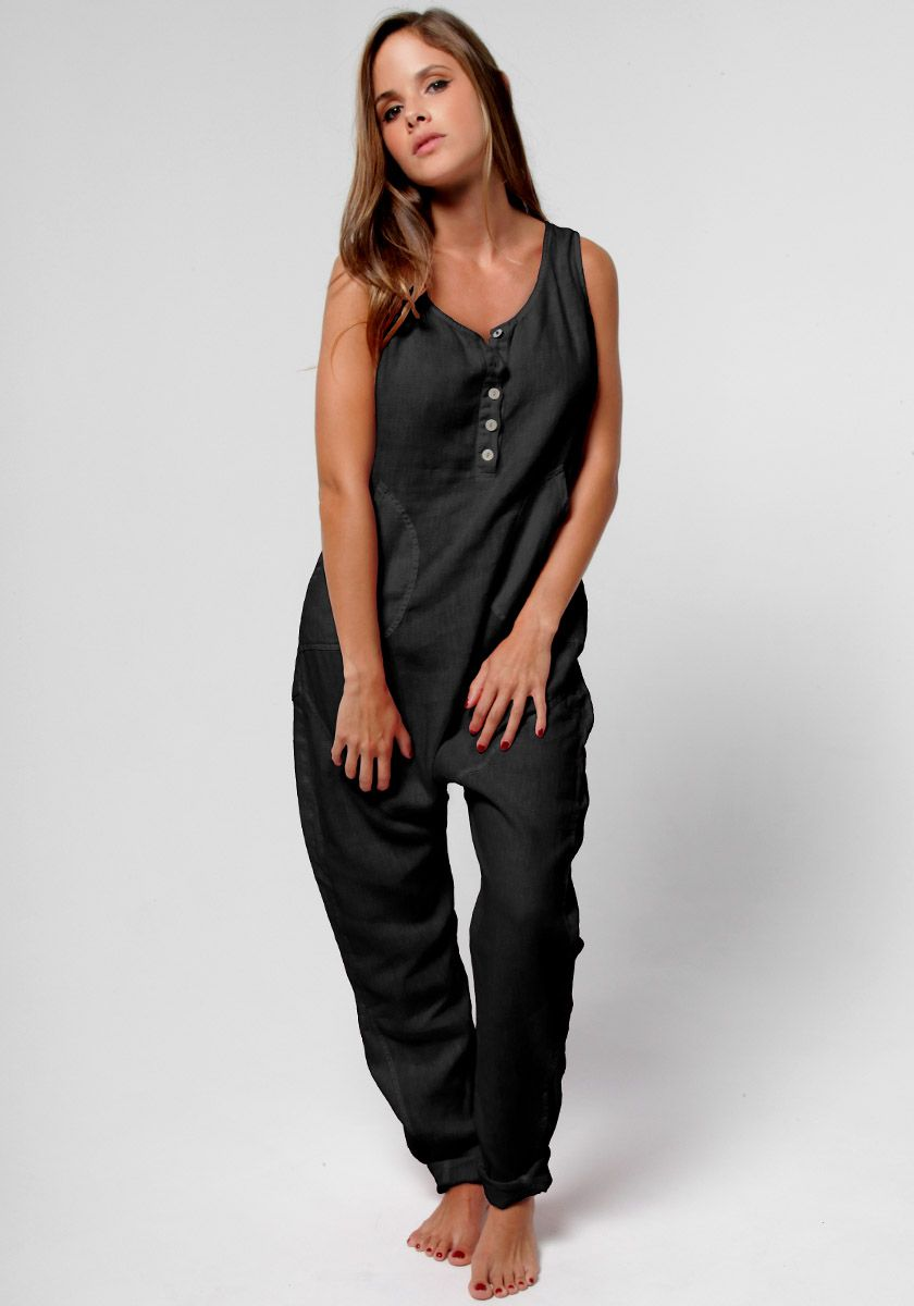 80f9a92cab84 Play it cool in our 100% Linen Drop Crotch Jumpsuit in Black. Featuring  mother of pearl buttons