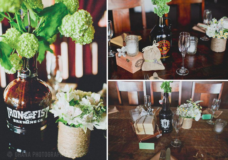 Love The Use Of Local Brewery Bottles And Growlers At This San Go Wedding Stone