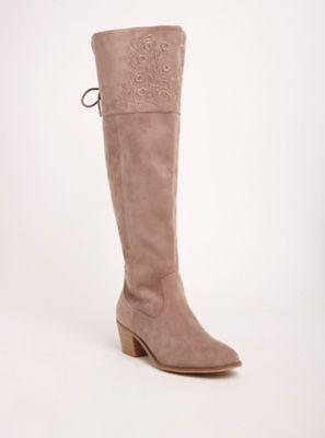5bcba8014f4 Wide Width Embroidered Over-the-Knee Heel Boots in Beige Tan - Wide Width   Wide  Calf
