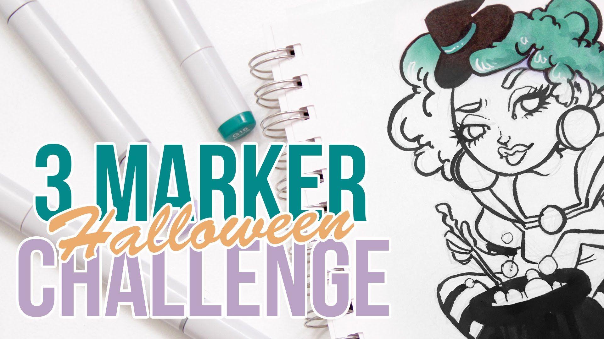 3 Marker Challenge Halloween Edition Drawing Ideas Pinterest