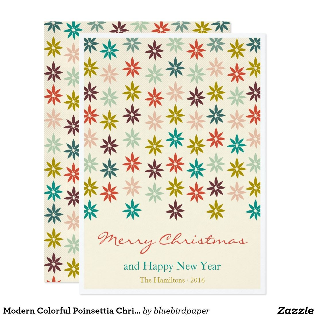 Modern Colorful Poinsettia Christmas Greeting