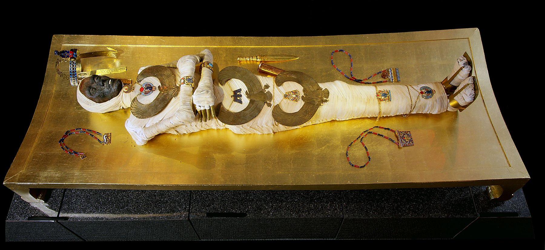 The Royal Mummy of King Tutankhamun. Wrapped in linen ...
