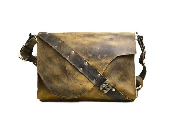 Rustic Leather Satchel Laptop By Divinadenuevo