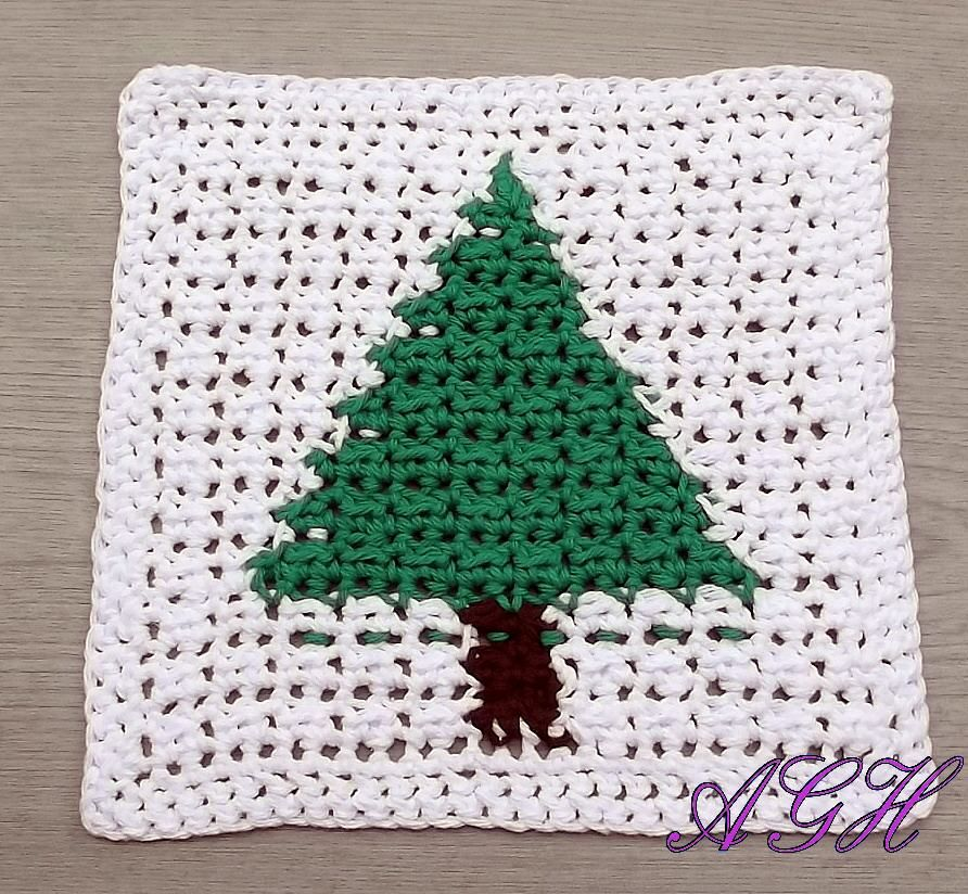 Christmas tree dishcloth - free crochet pattern | Granny Square L ...