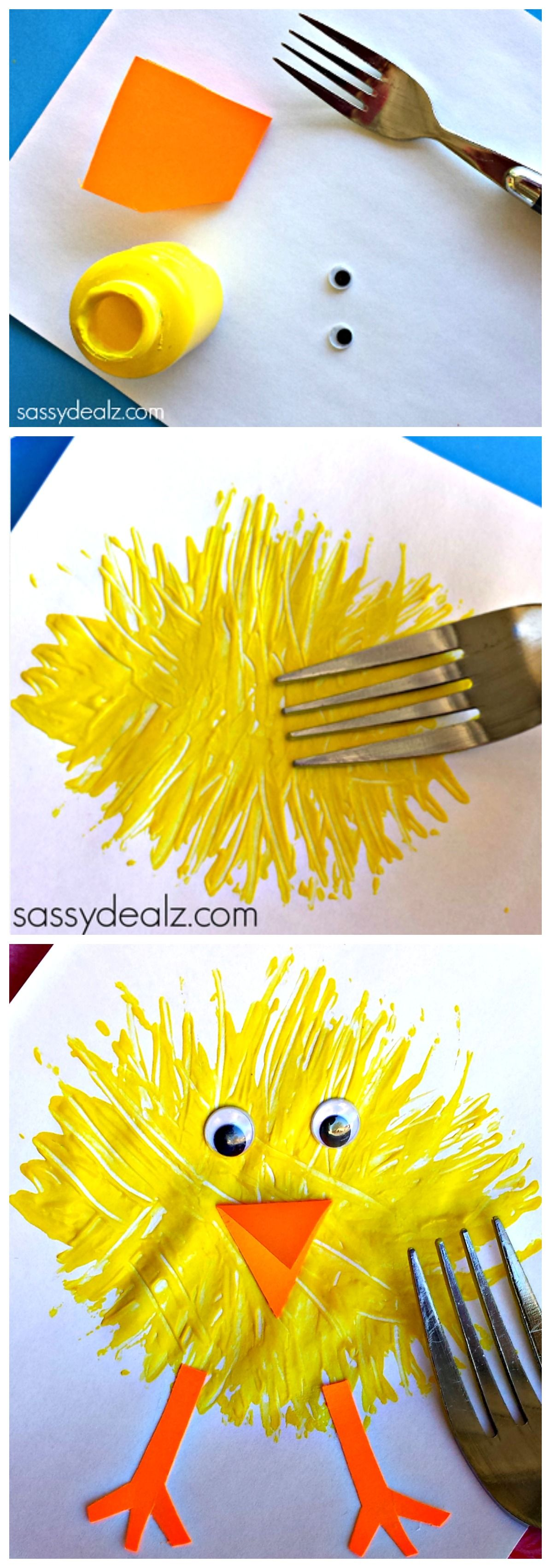 make a craft using a fork easter craft and easter crafts