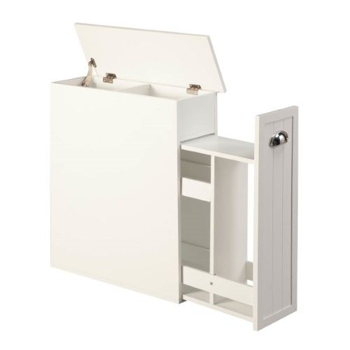 Photo of OakRidge Slim Bathroom Storage Cabinet with Slide-Out Shelf & Hinged Lid, 7-In. Wide, White
